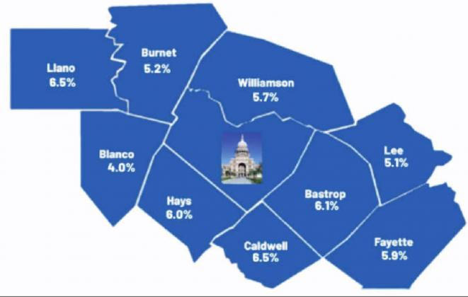 A Workforce Solutions Rural Capital Area map shows the unemployment figures of the counties surrounding Austin. Burnet County's jobless numbers rose approximately one percent from last month. Contributed