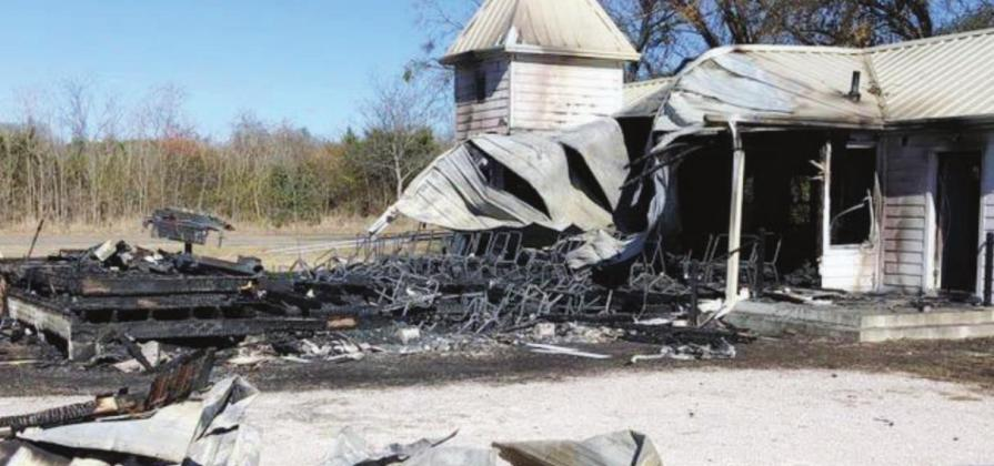 A fire believed to be an arson destroyed the unoccupied Mahomet Christian Church (left) Dec. 9. Authorities are investigating 17 fires of suspicious origin that have occurred in Burnet County since April 2020. File photos
