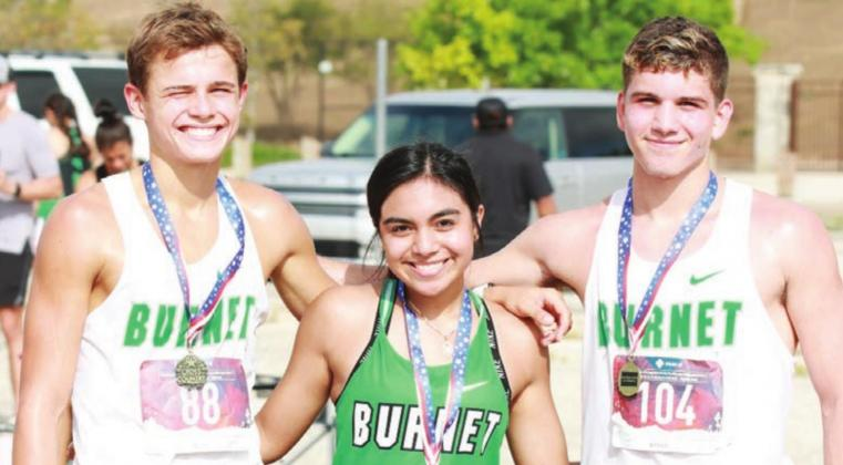 The Bulldog cross country team had three athletes bring home medals from Saturday's FEAST meet in San Antonio. From left to right, Hudson Bennett, first, 16:40; Rose Flores, third, 13:01; and Andy Urista, ninth, 17:49. The cross country teams will be back in action this Saturday in Thrall. Contributed