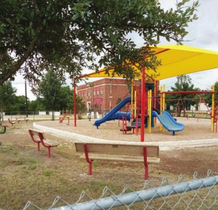 The Chad Wessels Playground in Briggs recently received renovations that were scheduled to be finalized on July 27. Road work was done, and stonework edges were added. Fran Jones/Burnet Bulletin