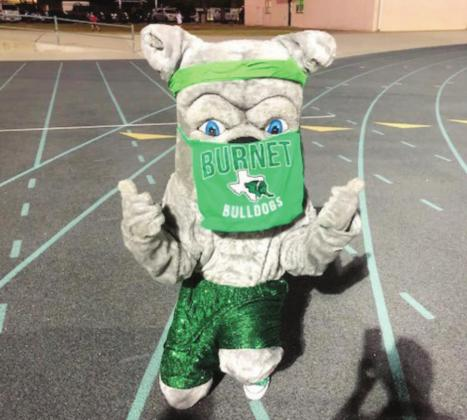 Even the Bulldog mascot is following UIL regulations when it comes to face coverings. Contributed