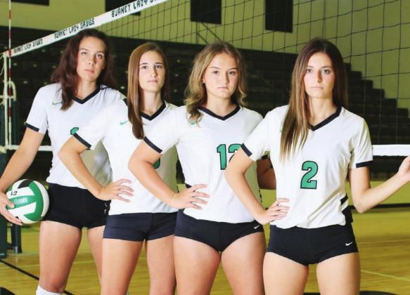 Senior volleyball players Halee Muccigrossi, Karissa Killebrew, Kyli Davis and Teagan Tappe give their all business look in a recent photo, and these young ladies have been helping their Lady Dawg team take care of business on the court as well. Burnet will travel to Brownwood this Friday. District play starts on Sept. 22 at home versus Lake Belton. Wayne Craig/Clear Memories