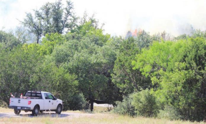 Fire spreads through the treeline near Ranch to Market Road 2831 (Blue Lake Drive) on Thursday, Aug. 13. Texas A&M Forest Service officials believe an unintentional roadside start from a passing car or piece of equipment was to blame for the blaze. Lew K. Cohn/Burnet Bulletin