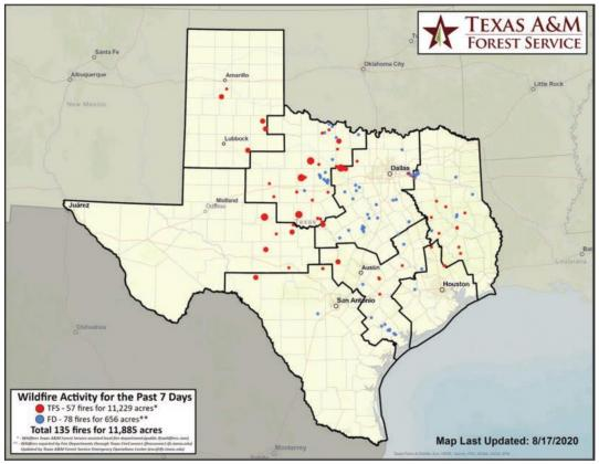 This map shows wildfire activity in the state from Aug. 11 to 17. Contributed/Texas A&M Forest Service